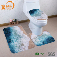 Custom print pvc mesh backing 3 pcs bath mat contour and toilet cover round set