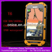 Cdma gsm dual sim android smart phone discovery V6 ip68 smartphone MSM8625 dual core 1.0Ghz GSM 900/1800MHz and CDMA800Mhz