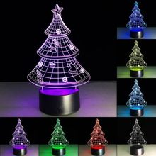 7 Colors Change Birthday Wedding Decor Gift Christmas Tree 3D Illusion LED Night Light