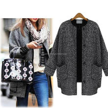 2015 European autumn new women's coats Single-breasted nine points sleeve cotton linen jacket Leisure wild short coat S/M/L/XL