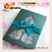2016 New products party favors laser cut blackish green paper cut christmas cards