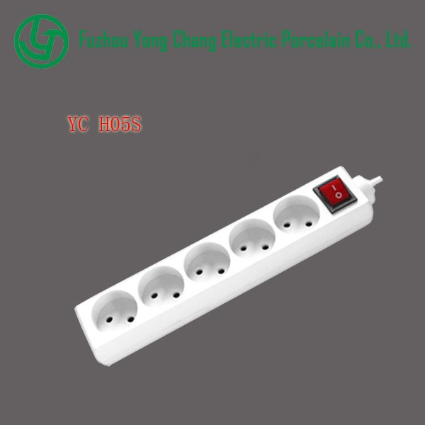 Holland type 5 outlets power board extension socket with switch