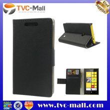 Black for Nokia Lumia 520 525 Magnetic Litchi Wallet Leather Case