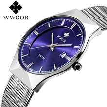 WOR 8016 WWOOR New Top Luxury Watch Men Brand Ultra Thin Stainless Steel Mesh Band Quartz Wristwatch Fashion casual watches