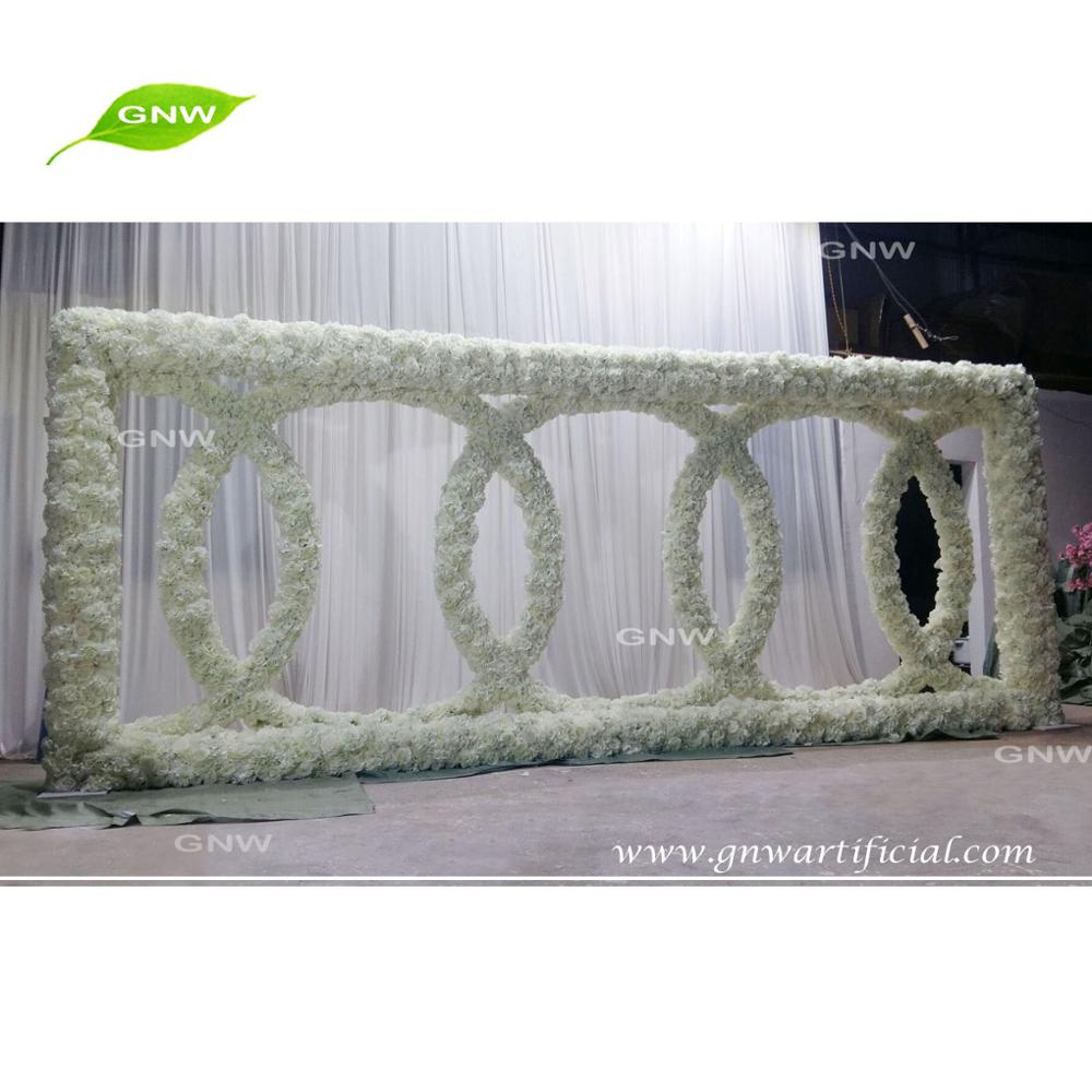 GNW FLWA1707012 Rectangle Frame With Wreaths Garden Wedding Floral Backdrop