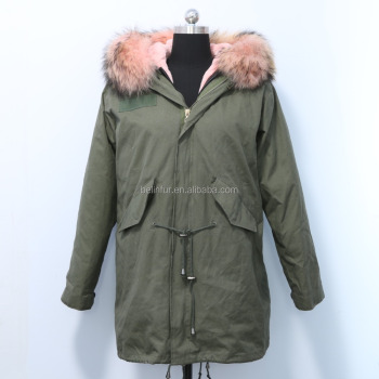 russion women fashion racoon fur parka for ladys