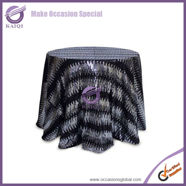 black round wholesale fancy elegant wedding glitter beaded mesh embroidery tablecloth with beads and sequins