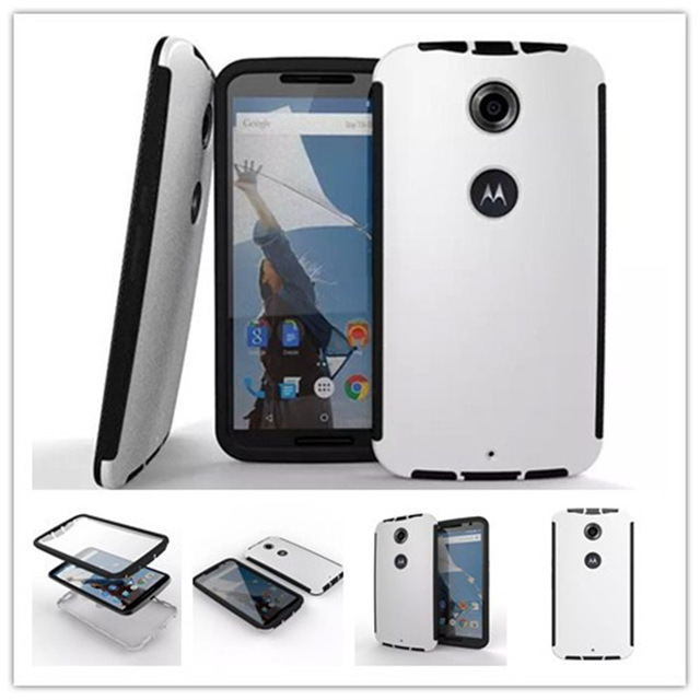 Full cover 3 in 1 built in screen protector defender case for Moto Nexus 6