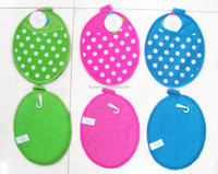 Oval Shape Solid Color Dotted Silicone And Cotton Twill Potholder