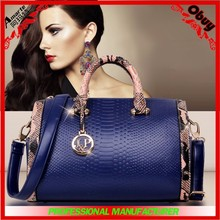 Popular elegance snakeskin handle tote lady bag handbag pillow shape