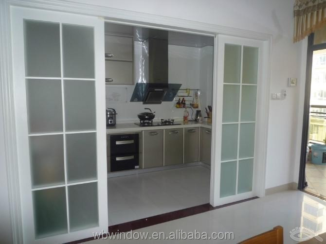 Vinyl double track sliding door(double glass with grids) for howv