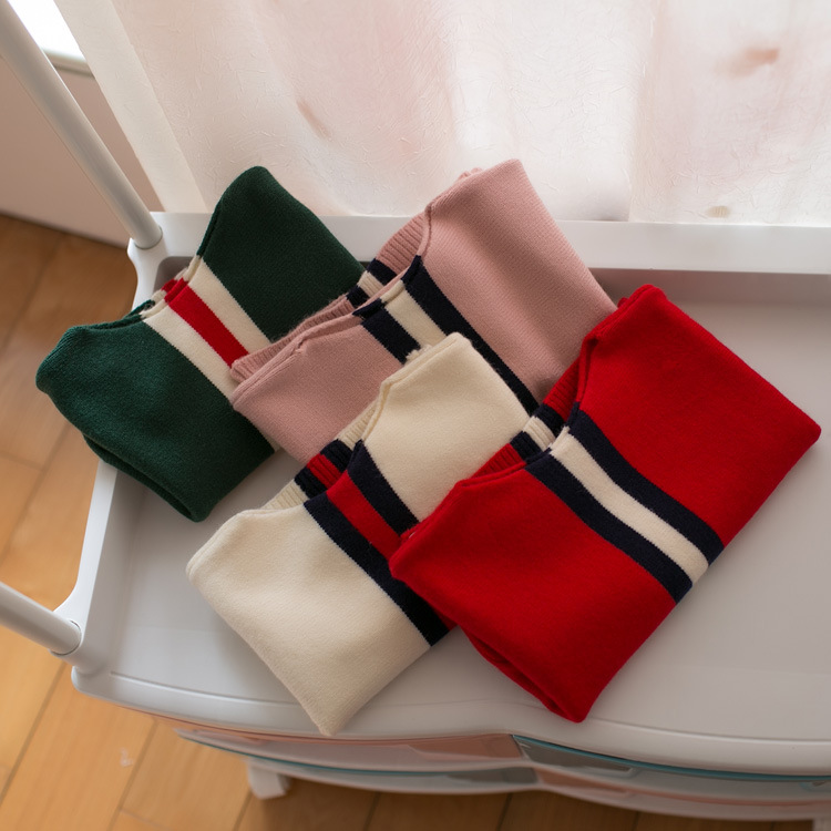 Hu Sunhsine 0-3 years New 2017 Wholesale Autumn Cotton Knitted Stripe Baby Boys Girls Sweater free shipping