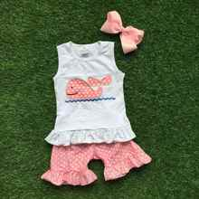 baby girls summer clothing girls whale outfits children boutique clothes polka got ruffle shorts with matching hairbows