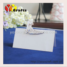 2014 yoyocraft Laser cutting party designer bride and groom handmade wedding place cards