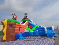 Commercial PVC Tarpaulin kids party Inflatable Pirate Water Slide for pool