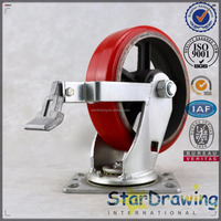 Made in China very solid Plate swivel 8 inch Lockable polyurethane heavy duty caster wheels