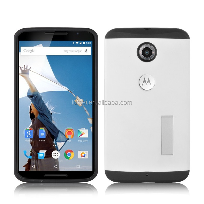 pc+tpu case for motorola nexus 6 case cover with stand holder, for google nexus 6 case