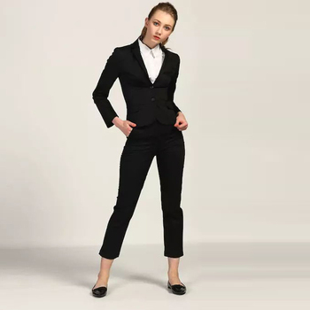 Black Office Cotton Trousers Set for Women