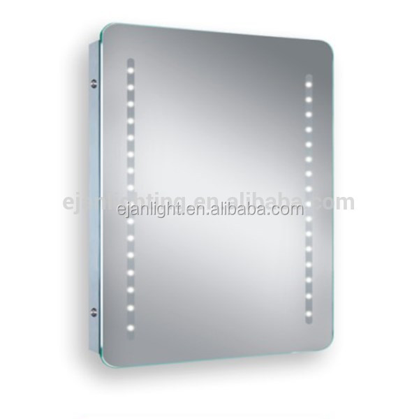 Rectangle Shape Decorative Led Light Wall Mirror With Clocks