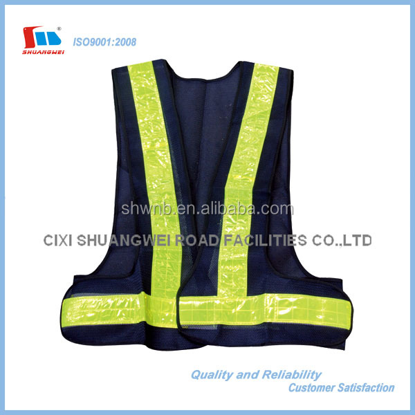 Blue High Visible Safety Vest with Reflective Band