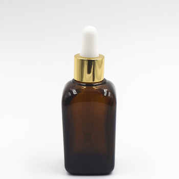 100ml square essential oil bottle amber glass bottle essential oil with gold aluminum dropper