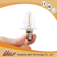 Long life time Led Decorative bulb E12 110v cri80 c7 model candle light warm white 1w replacing 15w incandecent bulbs