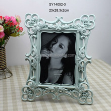 shabby chic 2015 polyresin glossy surface blue photo frame