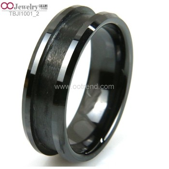 PVD plated black color polished blank rings for inlay