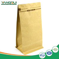 kraft paper bag customized coffee packaging bags with valve square bottom food grade zip lock or heat seal
