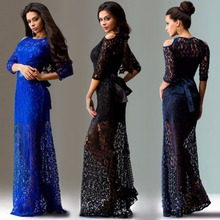 European Sexy Lace Slim Fit Evening Party Long Dress