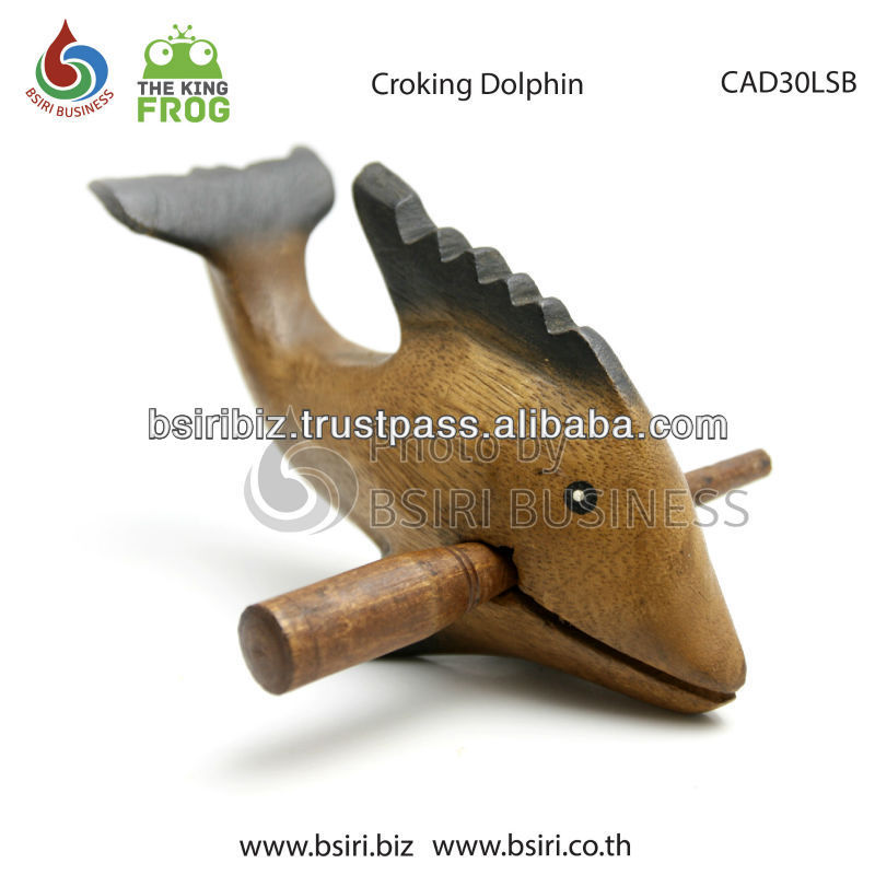 natural wood croking dolphin carved animals children musical instruments