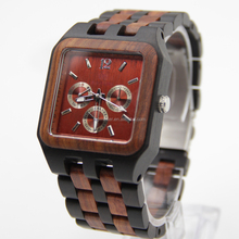 Men's Watches Luxury Style Square Wooden Band Three Dials
