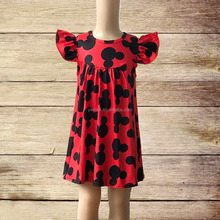 Latest Hot Sale Kids Boutique Clothing Outfits Short Sleeve Mouse Pattern Children Wear Girl Shirts