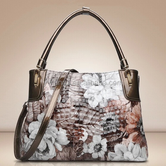 Elegance designer crocodile handbag flower PU replica style bag