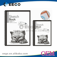 School supply high quality A5/A4/A3 sketch book with clear pocket