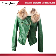 Chonghan Cheap Green Colour Women Sexy Beautiful Winter Leather Jacket