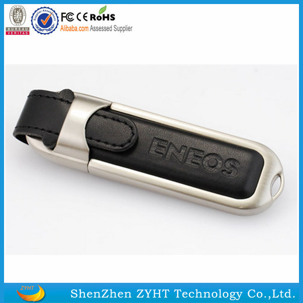 high quality fashion design OEM Pen drive 32gb Leather USB Flash Memory Stick for Gift with logo
