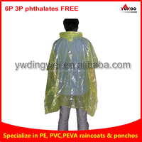 PE transparent emergency disposable ldpe rain poncho