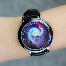 creative led binary watch leather touch screen led watch