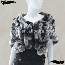 New product genuine knitted rabbit fur poncho