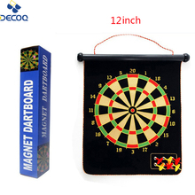 DECOQ 12inch Shooting Target Game Custom Magnetic Dartboard with Plastic Wing Darts and Sticky Balls for Kids Dart Toy