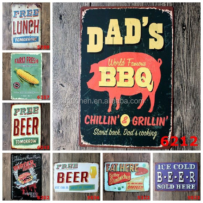 Wholesale Vintage Beer BBQ Lunch Sandwitch Farm Tin Sign Retro Metal Painting Antique Iron Poster Bar Pub Signs Wall Art Sticker