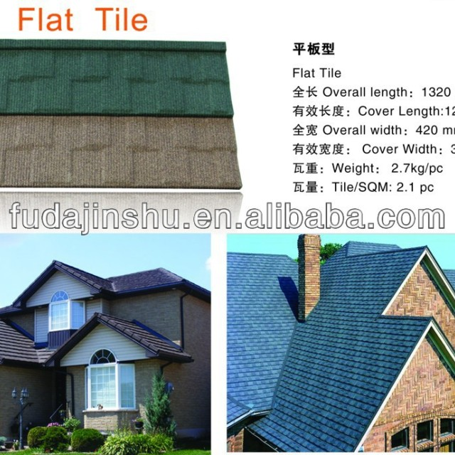 Chestnut stone coated metal roof tiles
