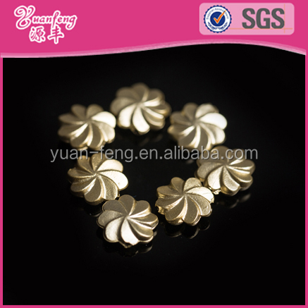 China bead manufacturer metallic color gold plated tungsten brass pinwheel craft shape plastic beads
