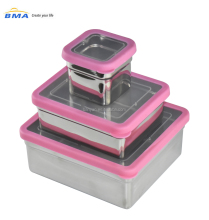 Food Storage Container set Stainless Steel kid Bento Lunch Box with PET lid