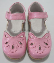 HOT Shiny pink leather TPR sole baby dress petal shoes