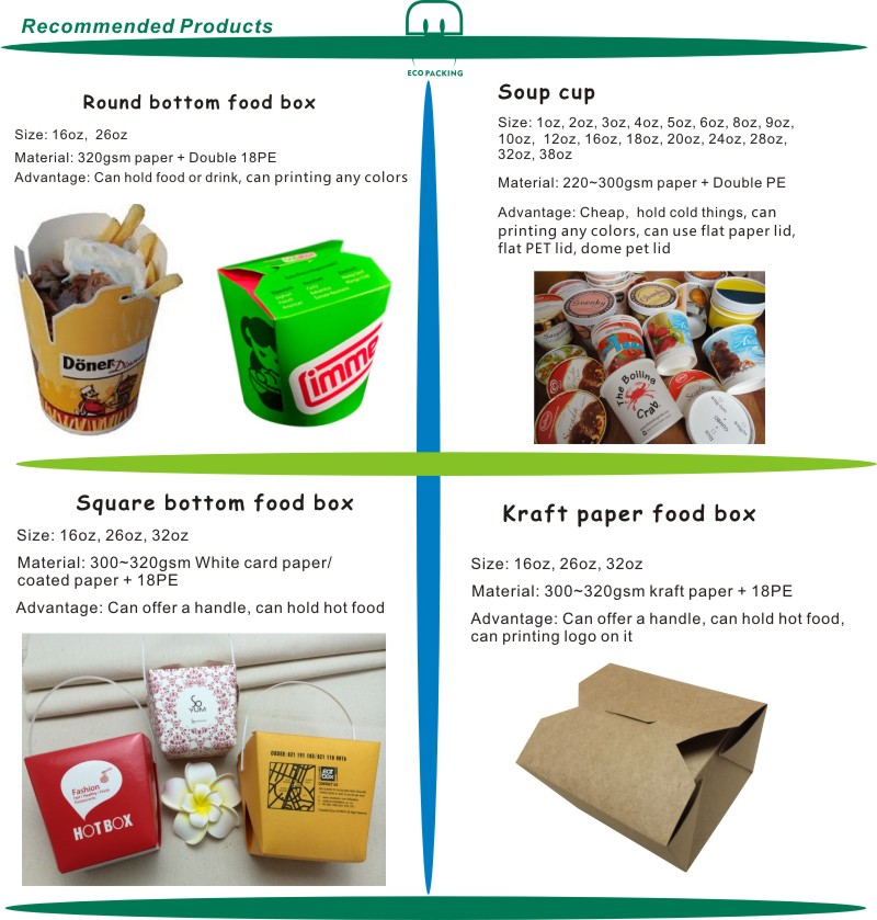 EXW Real price- Custom logo 26 oz Hot food box, noodle box, take away food box