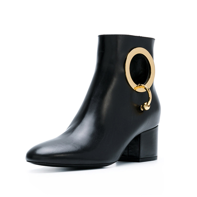 China factory real leather black 5cm chunky heel classical style autumn winter office metallic buckle women work boots