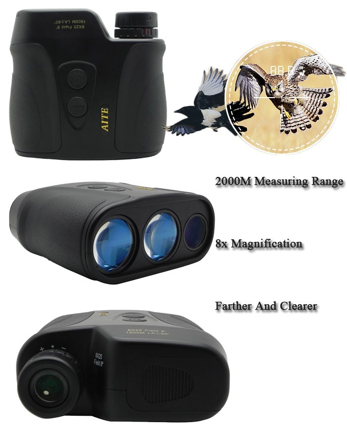 2000m laser range and speed finder infrared hunting engineering military