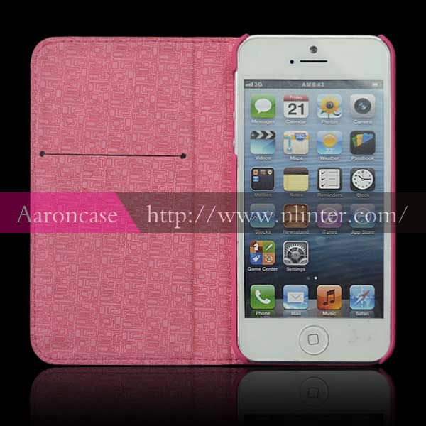 Wholesale Genuine Leather Phone Case for iphone5 Case Book Stand Magnetic Case